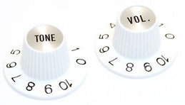 White Witch Hat Knobs for 6mm USA split Shaft Pots & Gibson Tone & Volume