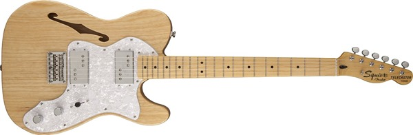 Squier by Fender Vintage Modified '72 TELE Thinline Semi-Hollow-Body Electric Guitar, Natural