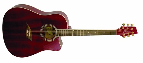 Kona K1TRD Acoustic Dreadnought Cutaway Guitar in Transparent Red Finish