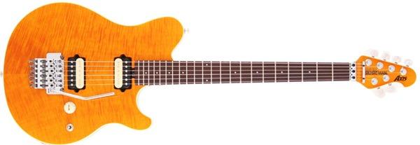 Ernie Ball Music Man Axis Floyd Rose Electric Guitar, Trans Gold, Rosewood Board