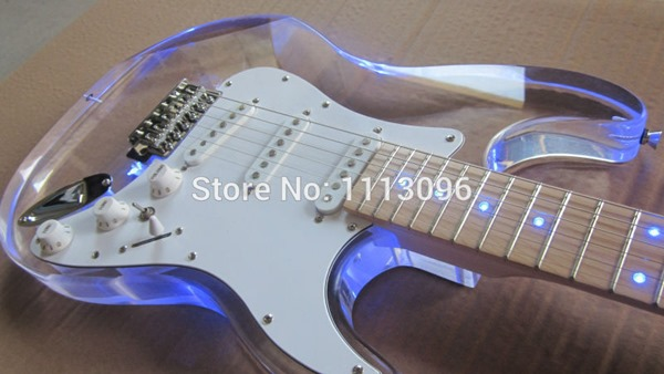 NEW guitarra st guitarra/maple neck oem Acrylic body electric guitar/with LED