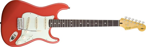 Squier by Fender Simon Neil Classic Vibe 60's Stratocaster Electric Guitar, Rosewood Fingerboard, Fiesta Red