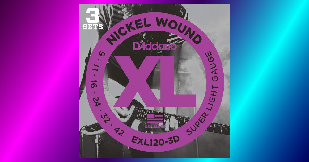 D'Addario EXL120-3D Nickel Wound Electric Guitar Strings, Super Light, 9-42, 3 Sets