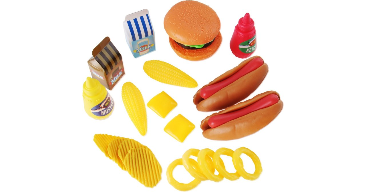 Liberty Imports Burger & Hot Dog Fast Food Cooking Play Set for Kids with Chips and Onion Rings