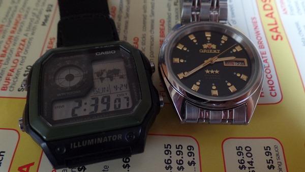 Casio AE1200 and Orient Three Star wristwatches