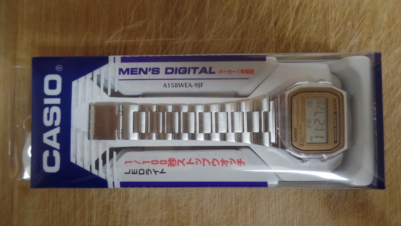 Casio A158WEA-9JF packaging - front
