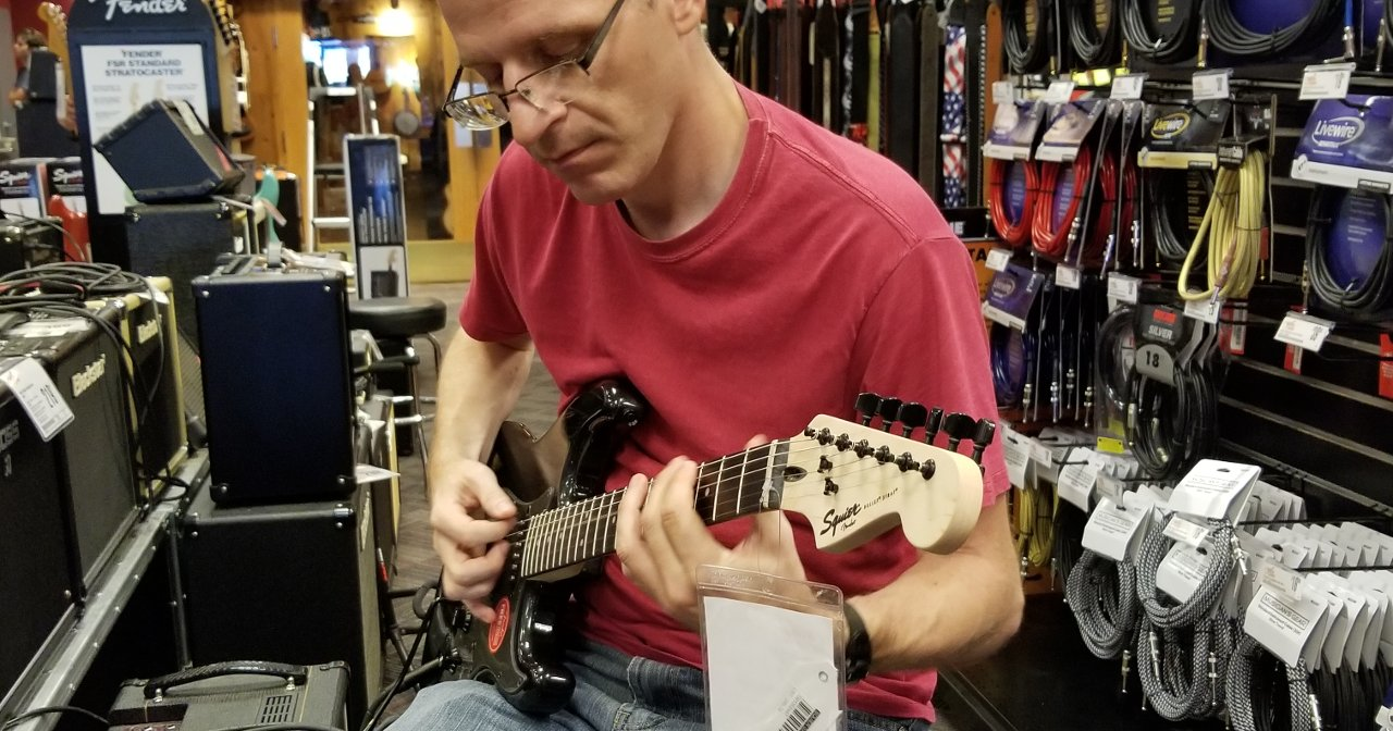 Playing a Squier Bullet Stratocaster HSS