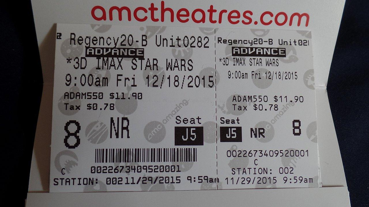 Star Wars 7 movie ticket
