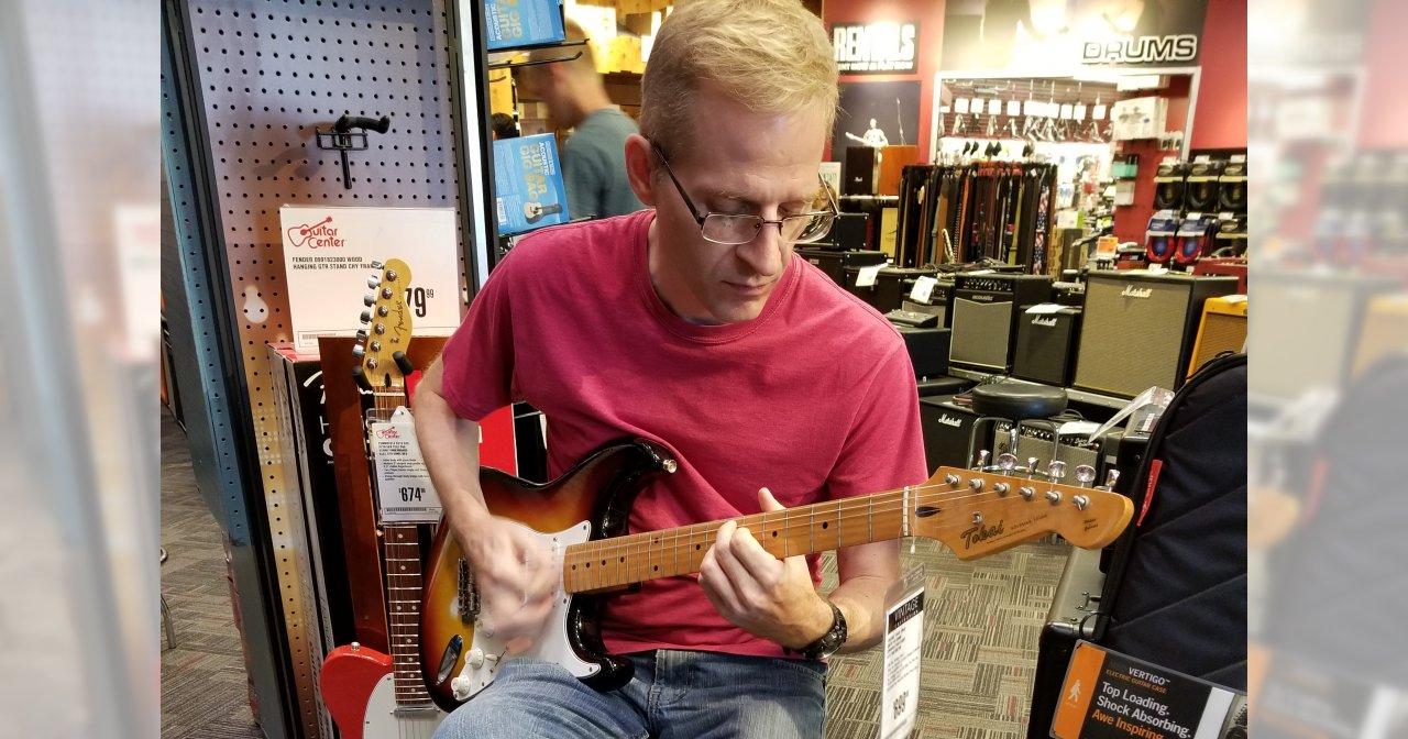 Playing a Tokai Goldstar Sound at Guitar Center Plano Texas