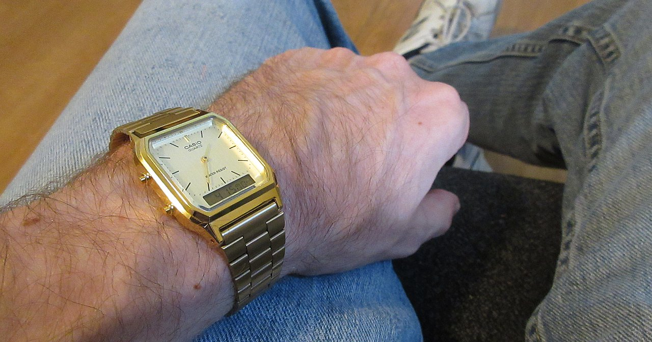 Casio AQ230GA-9D on wrist
