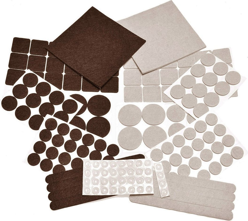 166 PIECE Two Colors - Variety Size Felt Pads. Self Adhesive Pads with Transparent Noise Reduction Bumpers