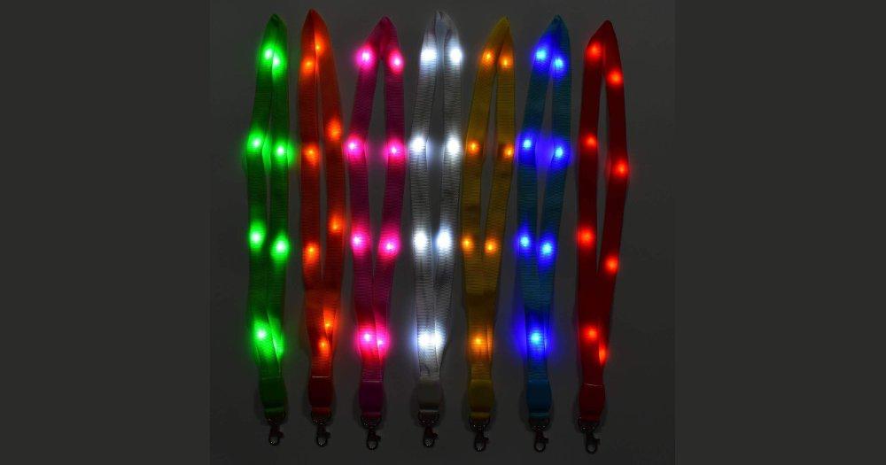 ANERSUS LED Light Up Flashing Lanyard Keychain Holder Keyring Neck Straps
