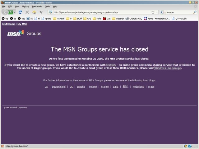 MSN Groups closed