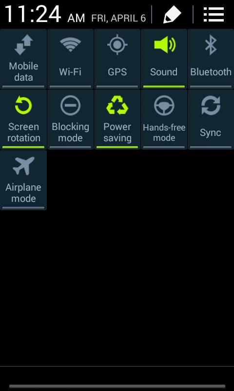 Samsung Galaxy Stardust settings