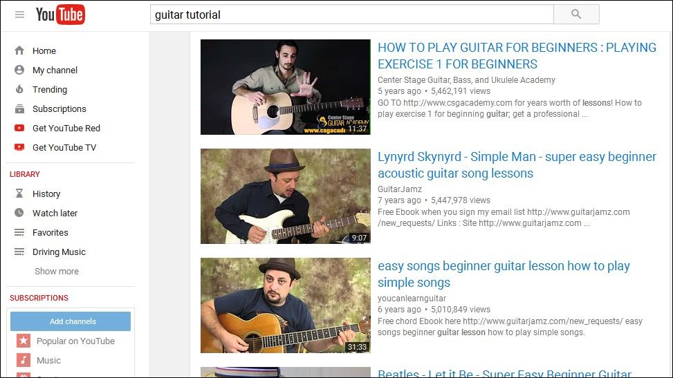 YouTube guitar tutorial videos