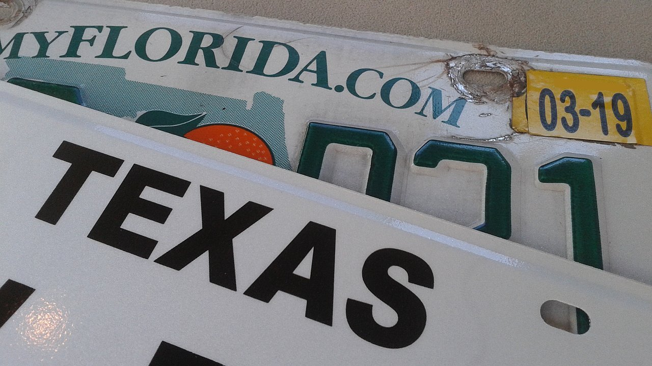 Texas and Florida license plates